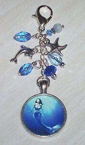 Mermaid Purse-Bag Charm -Altered Art- Handmade Clip On Zipper Pull Blue Dolphin
