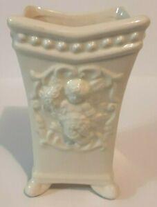 Vintage-Ardco-Footed-Porcelain-Vase-Planter-With-Embossed-Cherub-Crackle-Glaze