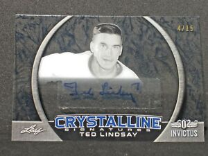 Ted-Lindsay-2017-18-Leaf-Invictus-Autograph-4-15-Detroit-Red-Wings-Crystalline
