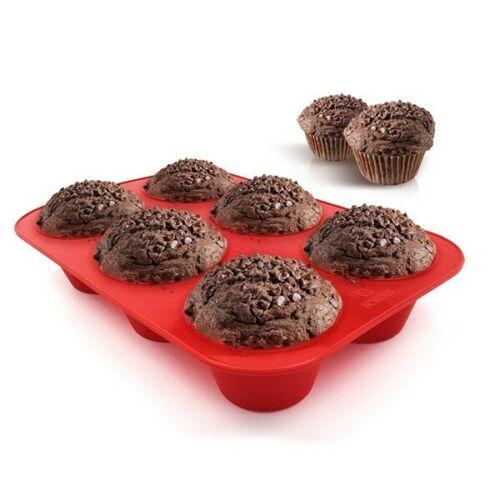 Silicone Muffin Moule backschale plaque du four 6 grands Muffins très robuste//Stable