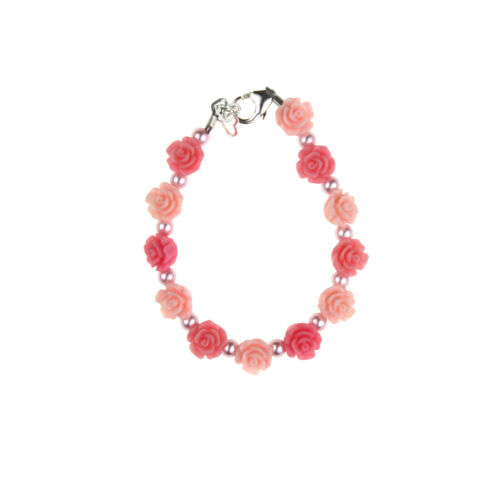 Baby and Child Bracelet with Pink & Rose Flowers with Pink Pearls