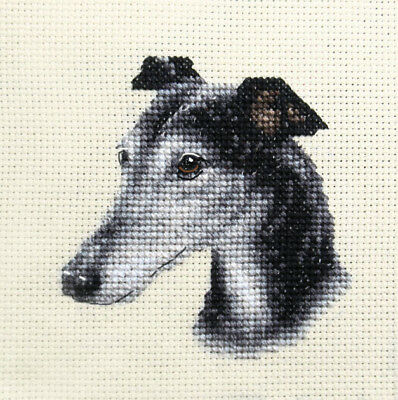 Exclusive Full counted cross stitch kit Dog all materials WHIPPET ~ Puppy