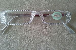 FULL-CLEAR-AUSTRIAN-CRYSTAL-READERS-GLASSES-4-00-GOLD-ARMS