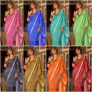 New Indian Pakistani Royal Blue Linen Saree Fancy Ethnic Party Wear Sari
