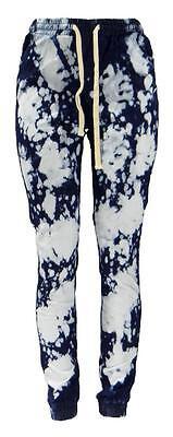 Women's Soho Babe Jeans Semi Drop Acid Wash Indigo Tie Dye Denim Joggers M-2XL