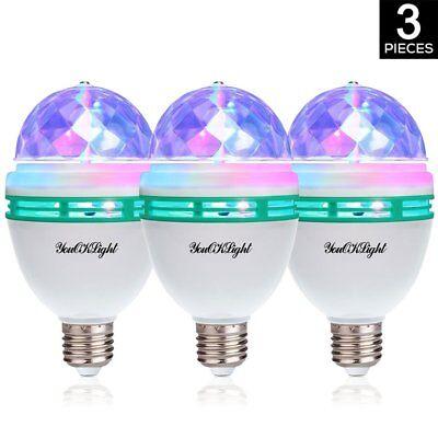 Youoklight 3 Pack E26 Full Color Rotating Lamp Led Strobe