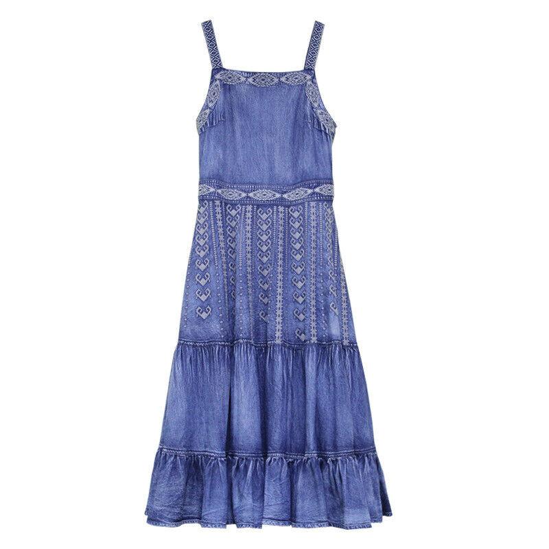 Denimkleid Jeanskleid Kleid Partykleid Strandkleid Ärmellos Sommerkleid L2139