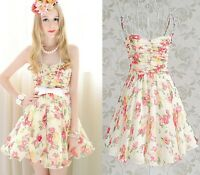 Elegant Cute Kawaii Princess Sweet Women Lolita Slim sleeveless Chiffon dress