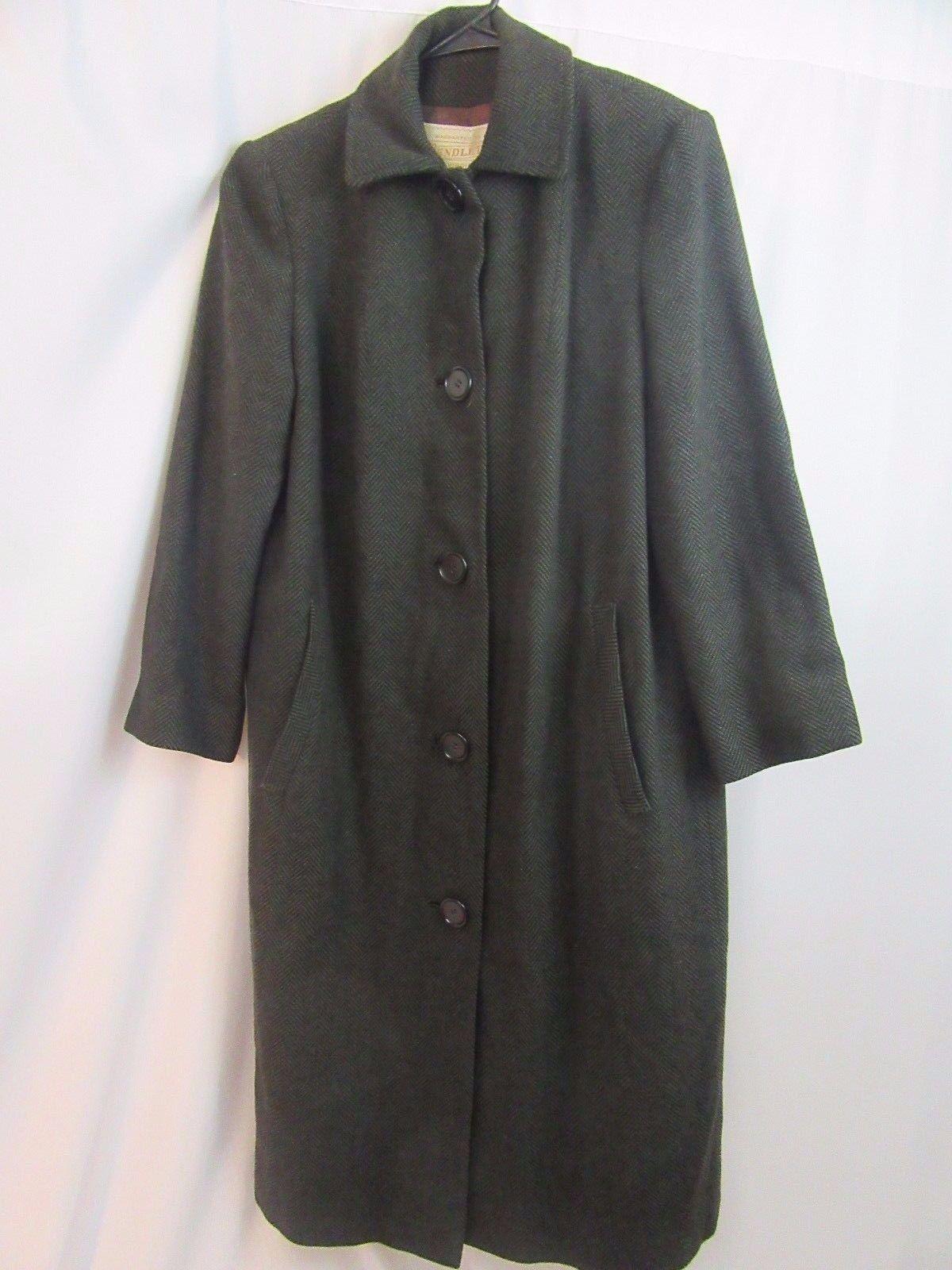 Pendleton Women's Herringbone Long Coat VTG 70's Virgin Wool Made in USA Size 12