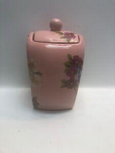 Ceramic-Canister-Songbird-Garden-Rosie-B-Farmer-Pink-Floral-Songbird-w-Lid-B3