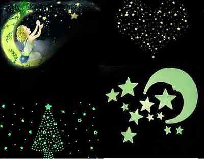 24X Home Wall Glow In The Dark Stars Moon Stickers Decal Baby Kids Nursery Room