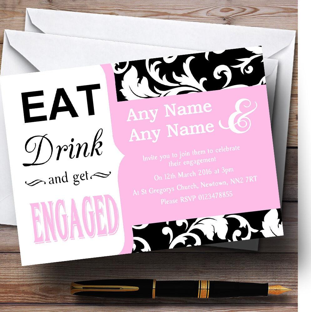 Rose pastel PAL Eat Eat PAL drink Personnalisé Fiançailles invitations 48189b
