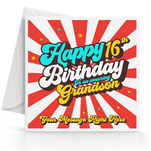 Image Is Loading Personalised 16th Birthday Card Boys Son Grandson Nephew