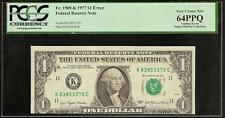 UNC 1977 $1 DOLLAR BILL CUTTING ERROR FED NOTE CURRENCY PAPER MONEY PCGS 64 PPQ