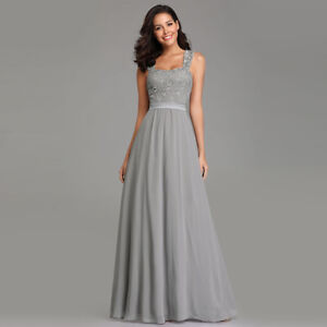 dc60bd5275d Details about Ever-Pretty Long Lace Evening Prom Gowns Grey Chiffon  Bridesmaid Dresses 07704