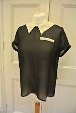 LIQUORISH (From ASOS) Black Sheer Top with Collar & Pocket design, BNWT, Size L