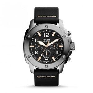 180a62bf392 Fossil Men s FS5016 Modern Machine Chronograph Leather Watch - Black ...