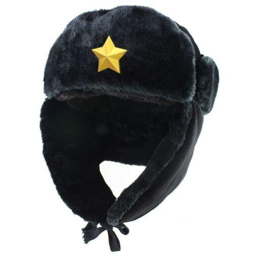 Russia Ushanka Bomber Winter Hat Men Soviet Army Military Pilot Snow Caps