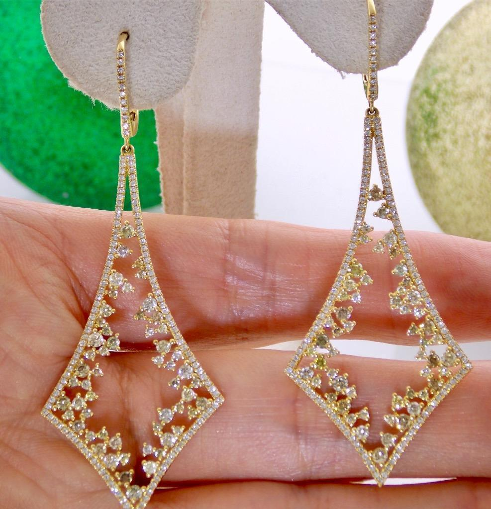 STUNNING 18K gold NATURAL WHITE & UNHEATED FANCY COLOR DIAMOND DANGLE EARRINGS