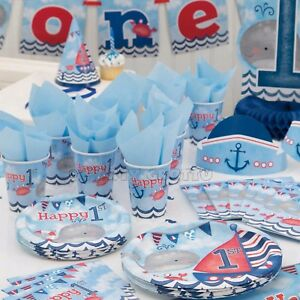 Image Is Loading Nautical 1st First Birthday Boys Blue Party Supplies