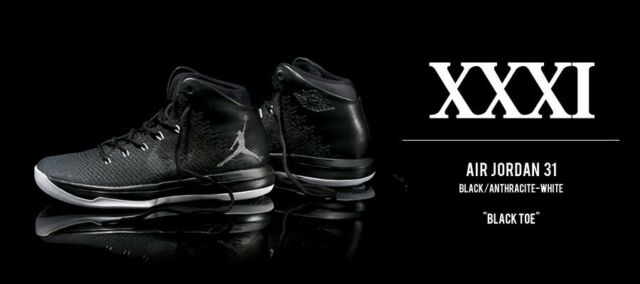 finest selection 211f7 41c81 Nike Air Jordan XXXI 31 Black Cat Anthracite Grey White 845037-010 Mens  Shoes 11