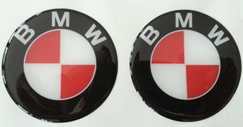 2 Adesivi Resinati Sticker 3D BMW 55 mm NERO  ROSSO