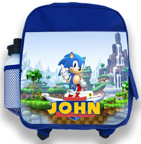 Personalised Kids Blue Backpack Any Name Sonic Boys Childrens School Bag Gift 2