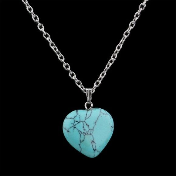 925 Sterling Silver Marcasite Turquoise Heart Pendant Necklace High Quality N20