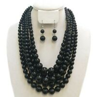 18 Adjustable 5 Layered Black Pearl Necklace W Matching Dangling Earrings