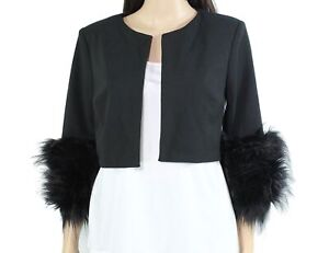 Calvin Klein Womens Jacket Black Size Small S Faux-Fur Cuff Cropped $79 081