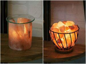 Large Himalayan Pink Rock Salt Lamp Basket Crystal Natural Healing Light Gift