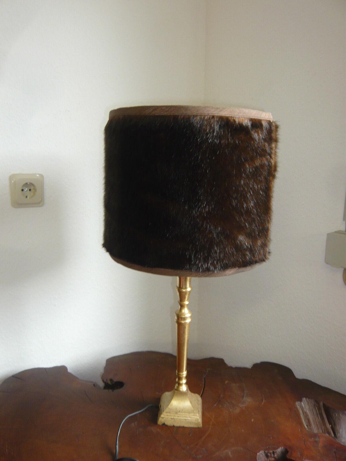 Sehr edle Tischlampe mit echtem Nerz - Nachttischlampe Tischleuchte