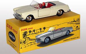 DAN-TOYS-Peugeot-404-Cabriolet-Beige-Creme-Portes-et-Capot-ouvrants-Ref-DAN-224