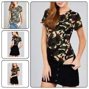 WOMEN-MILITARY-COTTON-SPANDEX-CAMO-CAMOUFLAGE-SHORT-SLEEVE-BODYSUIT-TOP-T-Shirt