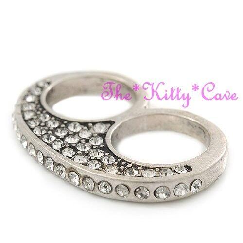 Insolito Protettore RAPPER Gangsta GHIACCIO Bling 2 dito knuckle anello di cristallo 2 colori!