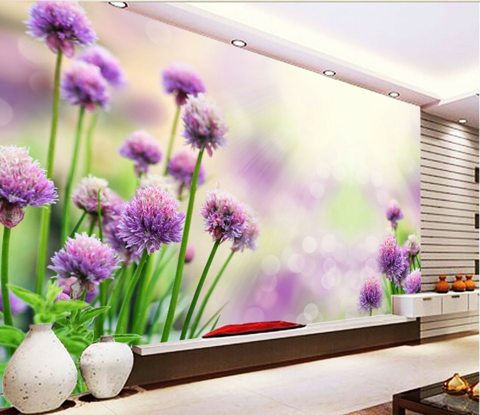 3D lila flowers Wall Paper Print Decal Wall Deco Indoor wall Mural