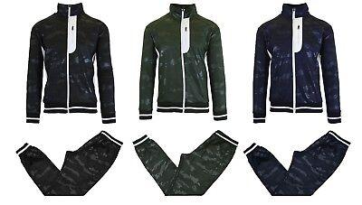 Mens Camo Performance Tech Sweater Jacket /& Jogger Set Sports Track Running NEW