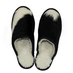 1b02426e3 Details about Women's/ Men's Unisex Genuine RODEO Cowhide Leather Slippers  Sandals / Indoor