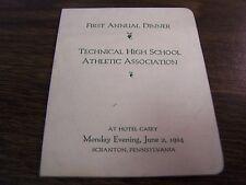 1ST ANNUAL DINNER TECHNICAL HIGH SCHOOL ATHLETIC ASSOCIATION - 1924 SCRANTON PA