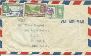 British-Honduras-SG-157-155-150-BELIZE-23-NO-51-AIRMAIL-to-USA-creased-amp-worn
