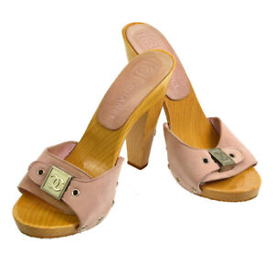CHANEL-CC-Sandals-Shoes-Pink-Beige-Wooden-Suede-Leather-35-Vintage-AK35552f