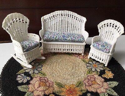 VTG 1986 White Wicker 3 Pc. Set Sofa Rocking Chair Signed - Dollhouse Miniature