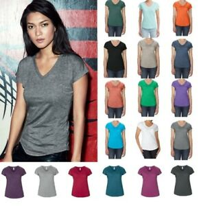 392151b9962 ANVIL Ladies Tri-Blend Semi-Fitted V NECK T-SHIRT with Curved Hem ...