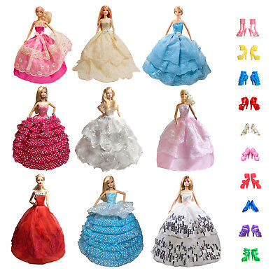 15-piece Handmade Fashion Dresses Clothes 10 pairs shoes For 11.5 inches Doll
