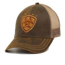 Ariat Men's Oilskin Patch Logo Mesh Back Brown Baseball Cap 1515602
