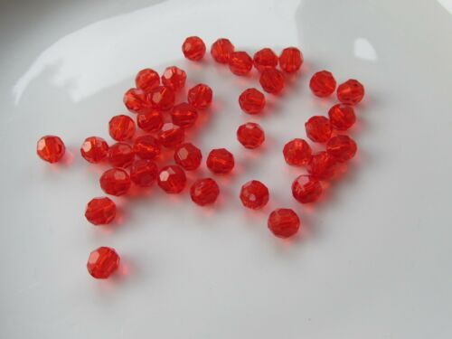 Jewellery Craft Design Red Acrylic Round Faceted Bead Beads 8mm Pack 100