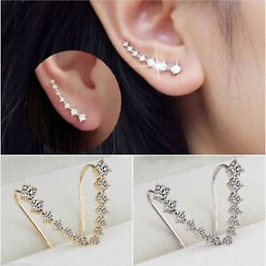 Image Is Loading Uk Las One Row Rhinestone Crystal Star Ear