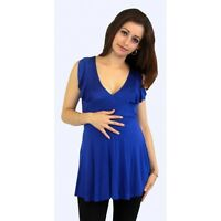 Navy Royal Sleeveless Tank Pregancy Blouse Maternity Solid Blouse Pregnant Cloth