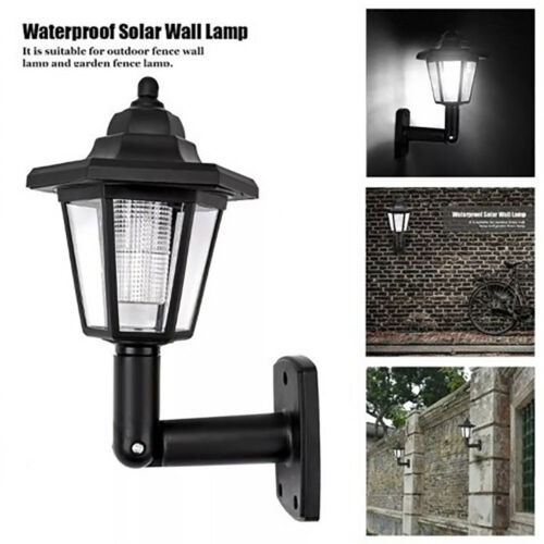 1~2pcs Solar Wall Mount LED Light Outdoor Garden Path Landscape Fence Yard Lamp