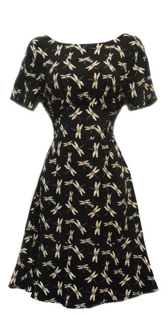 New WW2 VTG 1930's 1940's Black Art Nouveau Dragonfly Wartime Tea Dress